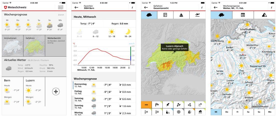 Genaueste Wetterdaten für die Schweiz gibt es für das iPhone und iPad durch die App MeteoSwiss, die neben der Wetterprognose auch vor Naturgefahren warnt.